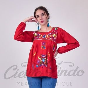 Mexican Blouse Long Sleeve Handmade Embroidered
